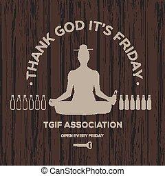 agradecer, feliz, él, dios, viernes, viernes