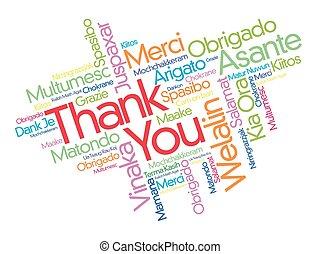 agradecer, idiomas, diferente, usted, palabra, nube