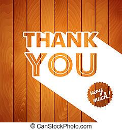 agradecer, madeira, tipografia, experiência., tu, cartão