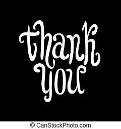 agradecer, you., mão, lettering., caligrafia