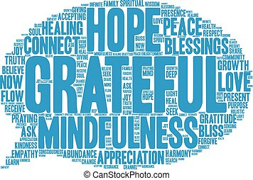 agradecido, palabra, nube