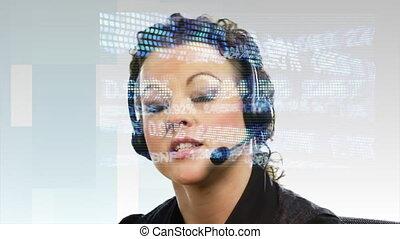 agrafe, casque à écouteurs, -, compsite, femme