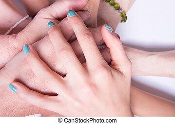 agrafe, de, mains