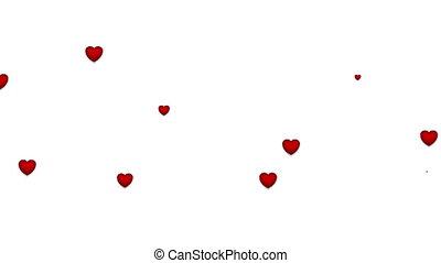 agrafe, valentines, rue, vidéo, cœurs, jour, rouges