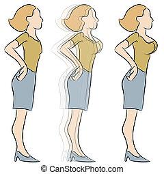 agrandissement, poitrine, transformation