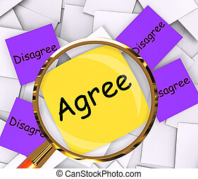 Agree Disagree Post-It Papers Meaning Opinion Agreement Or Disagreement