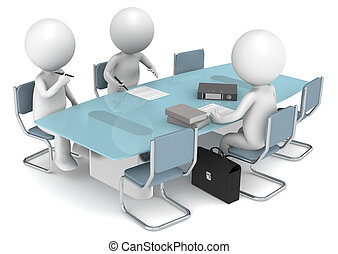 3D little human characters X3 signing papers. Business People series.