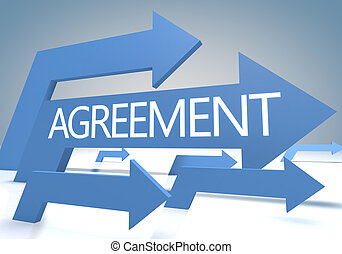 Agreement 3d render concept with blue arrows on a bluegrey...