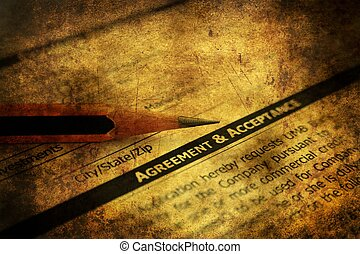 Agreement and acceptance grunge concept