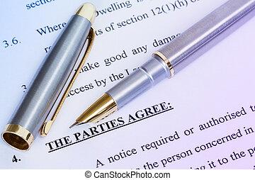 Agreement and metal pen - Metal pen with agreement between...