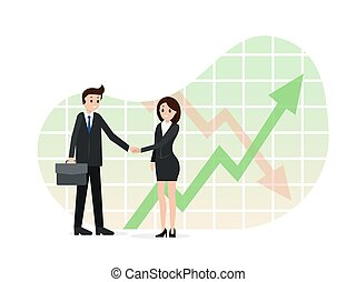 Agreement between two business partners. Finance chart, analitics, arrows on background