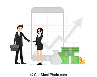 Agreement between two business partners. Finance chart, money, profit on background