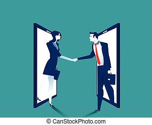 Agreement. Business people handshake on smartphone