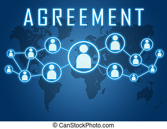 Agreement concept on blue background with world map and...