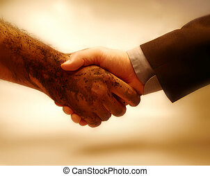 Agreement - Handshaking between a rich-class person and a...