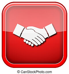 Agreement icon - Square shiny icon with white design on...
