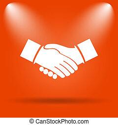 Agreement icon. Internet button on orange background.