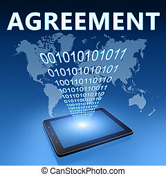 Agreement illustration with tablet computer on blue...