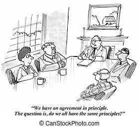 Agreement in Principle - Business cartoon where the leader...