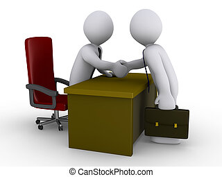 Agreement in the office - Two 3d businessmen shake hands in...