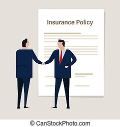 Agreement insurance policy. Insurance claim transaction money. hand of agent handshake