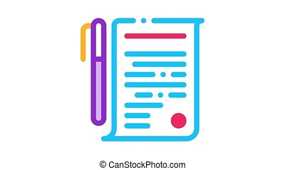 Agreement Pen Icon Animation. color Agreement Pen animated icon on white background