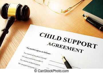 agreement., soutien, document, nom, enfant
