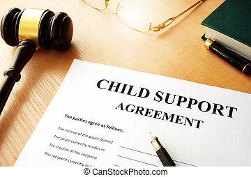 agreement., soutien, document, nom, enfant