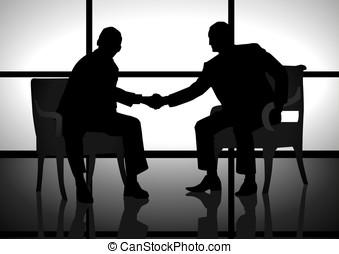 Agreement - Stock illustration of two men shaking hand