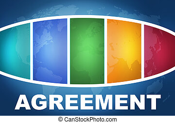 Agreement text illustration concept on blue background with...