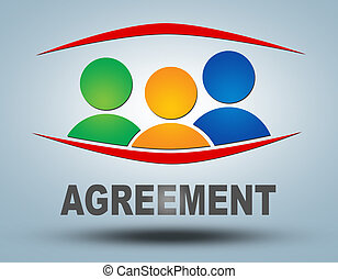 Agreement text illustration concept on grey background with...