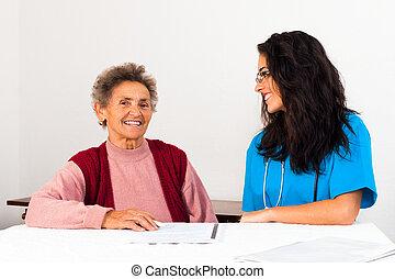 Agreement to Nursing Home - Nurse helping elder lady singing...