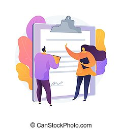 Document signing. Partnership deal, business consultation, work arrangement. Client and assistant writing contract cartoon characters. Vector isolated concept metaphor illustration