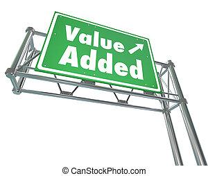 agregado, adicional, supplemen, prima, valor, señal,...