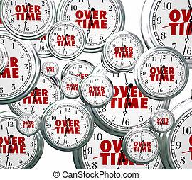 agregado, trabajo, clocks, tiempo extraordinario, extra, ...