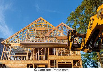 agregar, madera, camión, pesado, extensión, marco, techo, casa, maquinaria, auge, utilizado, bragueros