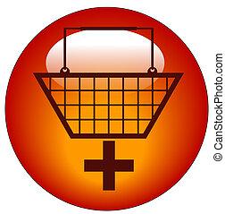 agregar, señal, compras, -, carrito, icono, más, cesta