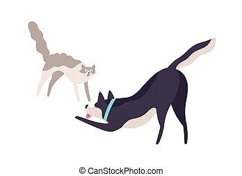 agressief, dog, vecht, huiselijk, opgewekte, twee, plat, vrijstaand, hebben, boos, spotprent, aanhalen, vector, illustration., elke, kleurrijke, dier, bang, anderen, kat, witte , schattig, samen, achtergrond., spelend