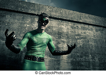 agressief, superhero, close-up