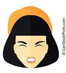 agressif, crier, woman.