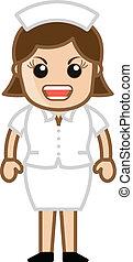 agressif, dessin animé, infirmière