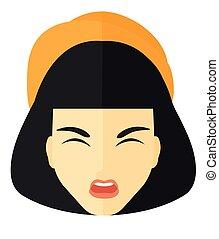 agressif, woman., crier