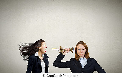 Agressive management - Businesswoman scream agressively in...