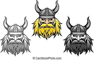 Agressive viking warriors for mascot or tattoo design
