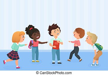 agressivement, gosses, humiliate, school., garçons, intimider, taquiner, menace, filles, ou, multiracial, offenser, intimider, commérage, force, others., dominer, problème