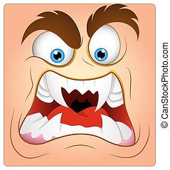 agressivo, caricatura, rosto