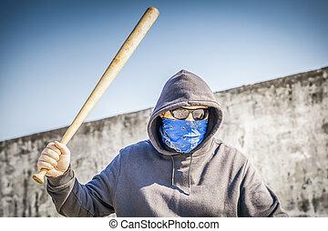 agressivo, homem, com, um, bastão baseball