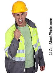 agressivo, trabalhador construção, rejoicing