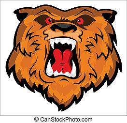agresywny, głowa, niedźwiedź, maskotka