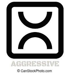 agresywny, pojęcie, biały, ikona